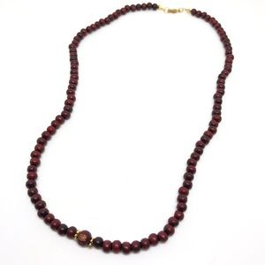 Jewelry - 107 Red Wood Mala Bead Necklace